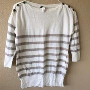 J.Crew M linen striped knit top 3/4 sleeve white